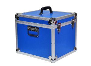 "Aluminium 12"" LP Case Blue Square Design - 100 Capacity"